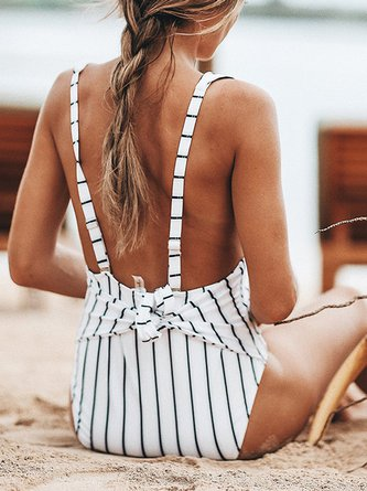 White Stripes Bow Plunge Neck One-piece