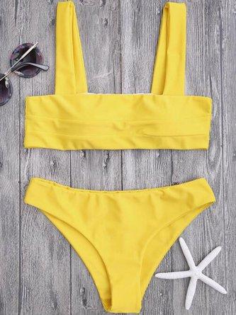 Padded Wide Straps Bandeau Solid Bikini