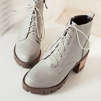 Chunky Heel Casual Women Lace Up Boots