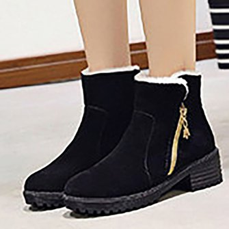 Women Snow Zipper Side Casual Winter Booties