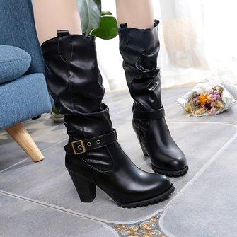 Winter Chunky Heel Buckle Mid Calf Boots