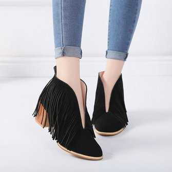 Fashion Fringed Slip On Booties Faux Suede Casual Ankle Boots