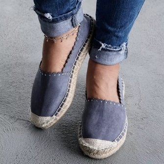 Plus Size Artificial Suede Flat Heel Daily Slip On Espadrilles Loafers