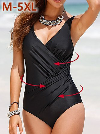Plue Size Plain Asymmetric Ruched Cross One-piece Swimsuit
