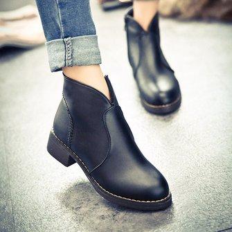 Zipper Chunky Heel Daily Spring Fall PU Boots