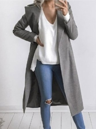 Women's Coat Pockets Solid Turn-down Collar Casual Coat
