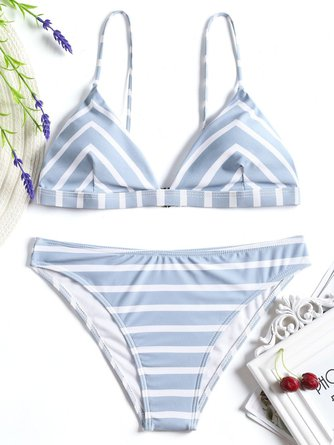 Wireless Stripes Printed Nylon Straped Bikini