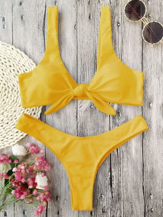 Padded Bow Knotted Thong Scoop neckline Solid Bikini