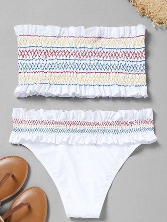 White Zigzag Bandeau Ruffles Smocked Bikini