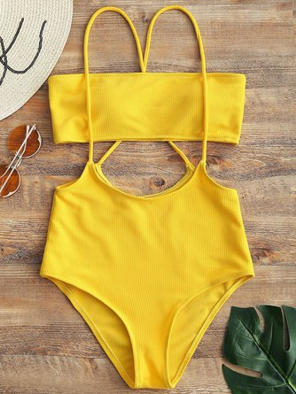 Solid Bandeau Top And High Waisted Slip Bikini Bottom