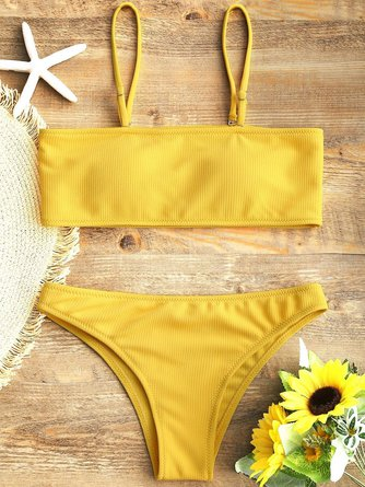 Ribbed Texture Solid Bikini with Convertible Collar