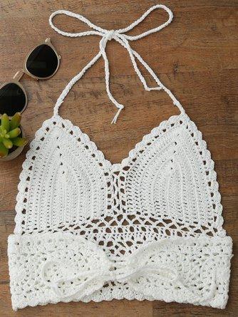 Halter Crochet Midi Bikini Crop Top