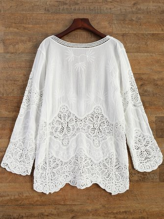 White Crochet Plunge Beach Cover-Up Dress