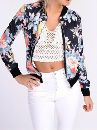 Multicolor Floral-print Long Sleeve Bomber Jacket