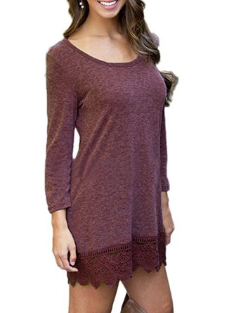 Scoop Neckline Guipure Lace Casual Long Sleeve Cotton-blend Dress