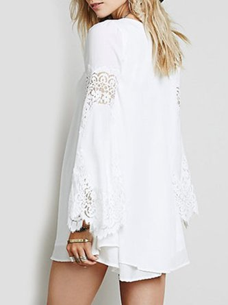 Lace Crochet Chiffon Crew Neck A-line Bell Sleeve Dress