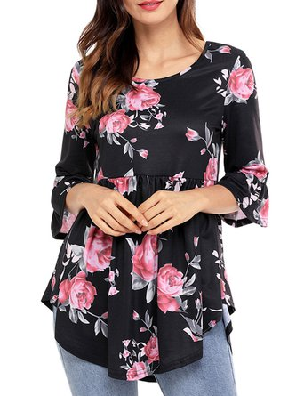 White Floral-print Polyester Asymmetrical Bell Sleeve Casual Top