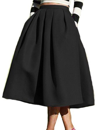 Skater Plain Pleated Casual Skirt