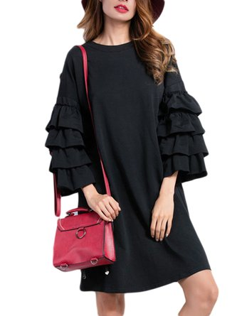 Black Round Neck Ruffled Knitted Frill Sleeve Dress