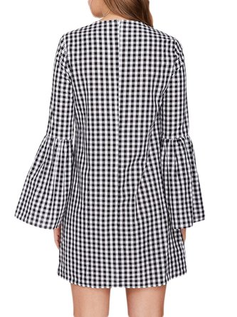 Bell Sleeve Round Neck Casual Checkered/Plaid Shift Dress