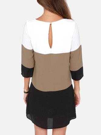 3/4 Sleeve Casual A-line Color-block Dress