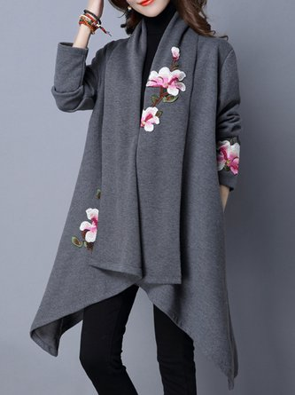 Floral Long Sleeve Embroidered Asymmetrical Coat