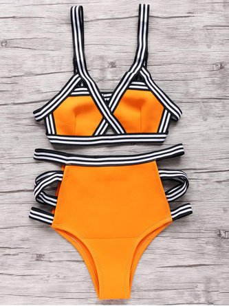 Orange Wireless High-rise Padded Straped Bikini