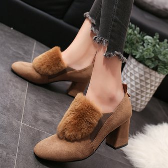Elegant High Chunky Heel Shoes Flurry Dress Suede Pumps