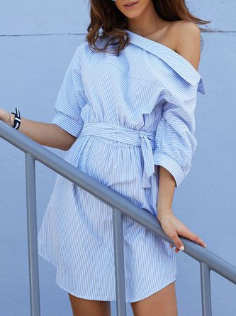 Blue Stripes Boat Neck Buttoned Dress