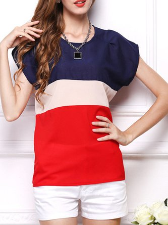 Chiffon Crew Neck Color-block Short Sleeve Blouse