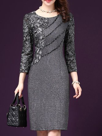 Gray Sheath Women Prom Cotton Long Sleeve Paneled Elegant Dress