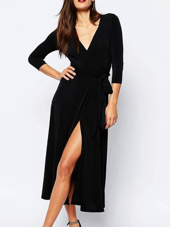 Black Wrap Solid Surplice Neck Party Dress
