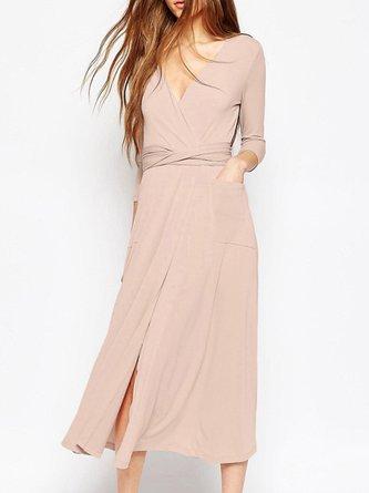 Pink Wrap 3/4 Sleeve Surplice Neck Party Dress