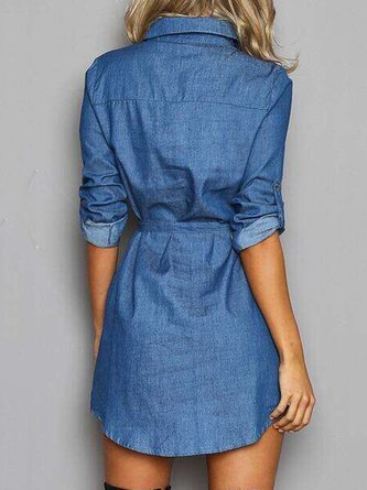 Blue Lace Up Denim Mini Dress with Belt