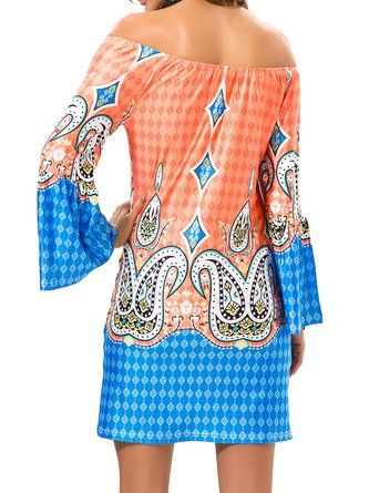 Orange Bell Sleeve Tribal Sheath Boho Dress