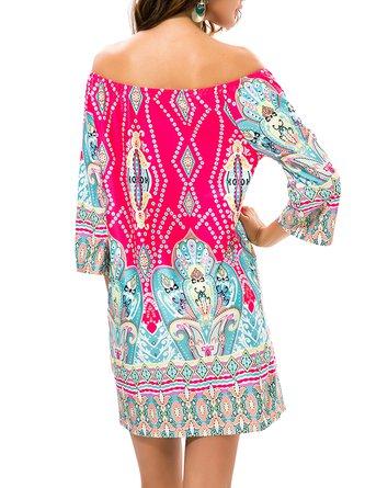 Fuchsia Off Shoulder Bell Sleeve Tribal Printed Boho Dress
