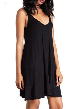 Black Open Back V-Neck Spaghetti A-line Mini Dress