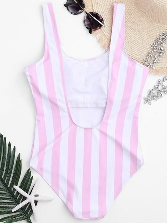Pink Wireless Stripes Scoop Neckline One-piece