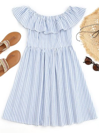 Light Blue Stripes Ruffles Off Shoulder Beach Dress