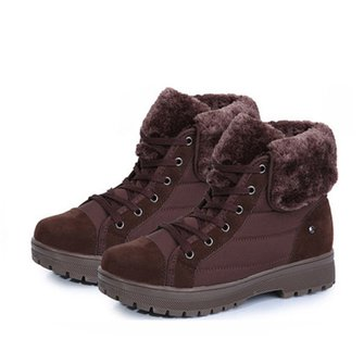Womens Plush Lining Nubuck Leather Winter Shoes Ankle Boots