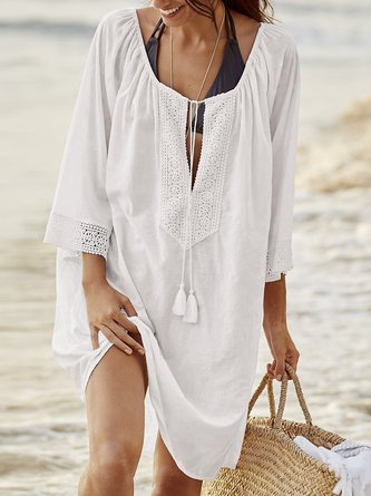 Floral Fringes Embroidered Lace-up Cover Up