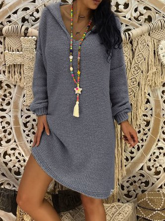 3ed1dbddd5b Hoodie Gray Shift Women Daily Elegant Knitted Long Sleeve Paneled Solid Casual  Dress
