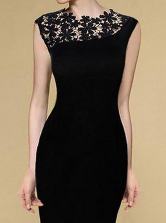 Black Bodycon Women Daily Elegant Sleeveless Paneled Floral Prom Dress