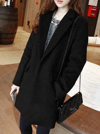 Casual Solid Lapel Wool blend Buttoned Pockets Winter Coat