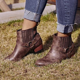 b981cbff580de Vintage Slip On Motorcycle Boots Low Heel Buckle Casual Booties