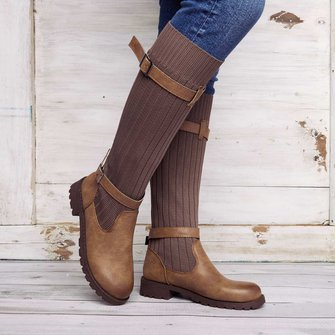 b3727f8fb598 Comfy Cabin Sweater Boots Vintage PU Paneled Adjustable Buckle Casual Boots