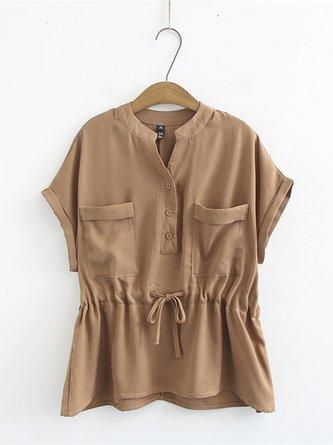 Vintage Homme Cotton Linen Shirts v-cou à manches longues Manteaux Veste élégant Tops SZ