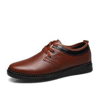 c88d18288 Men Classic Breathable Pure Color Flat Lace Up Formal Casual Shoes