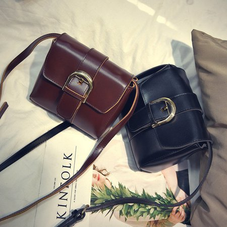 Women Vintage PU Leather Phone Purse Square Bag Crossbody Bag