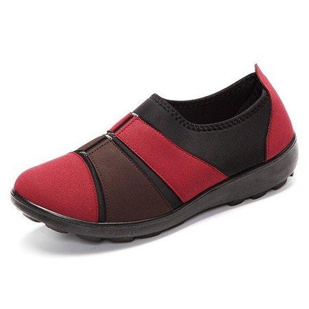 Cotton Cloth Buckle Color Match Mix Flat Soft Slip On Retro Shoes